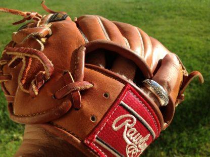 Silver Baseball Ring in Glove