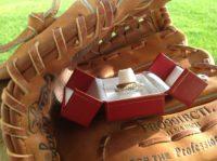 silver baseball ring band glove