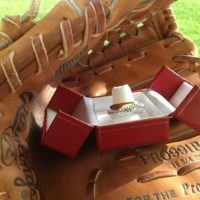 silver baseball ring band glove
