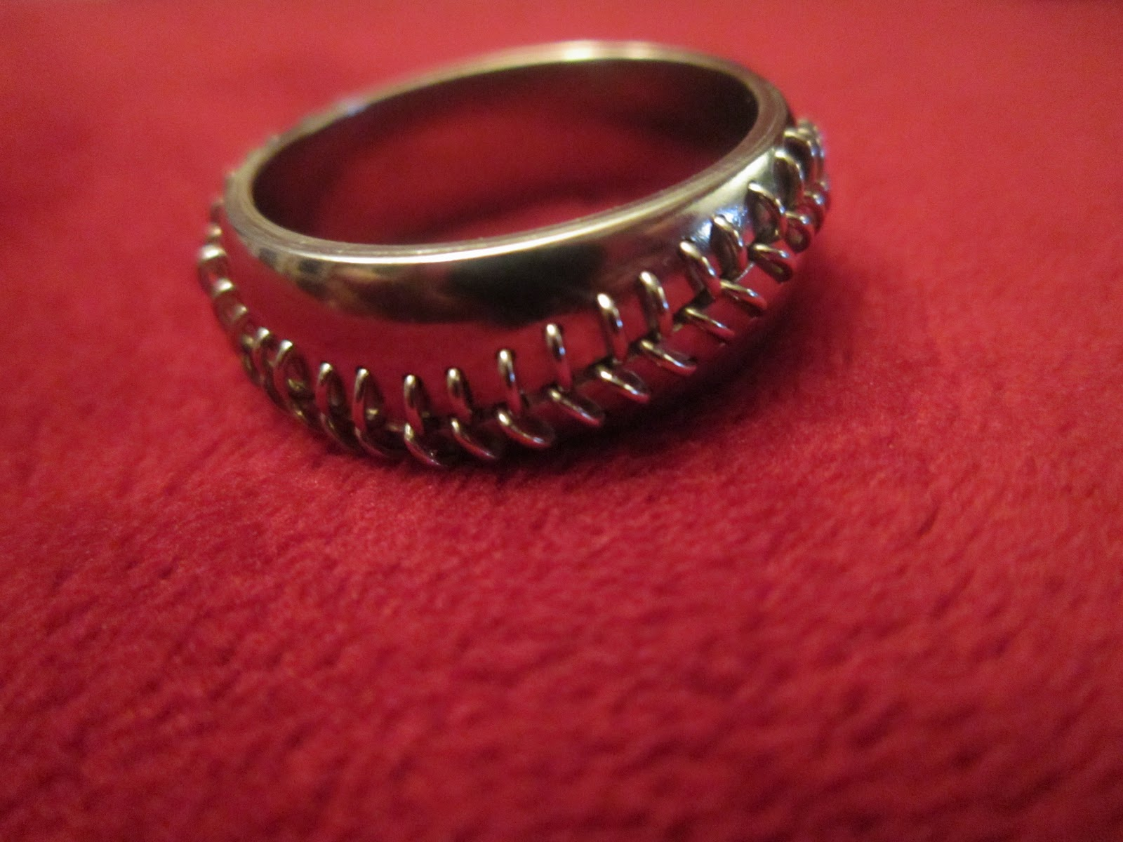 stitched baseball rings sterling silver or 14 kt gold