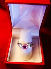Beautiful SIlver ring with pink tourmaline CZ. Inspired by Harry Potter.